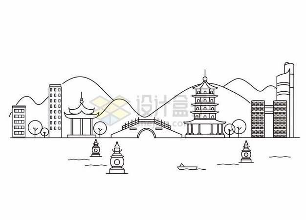 杭州西湖线条插画963430png图片素材