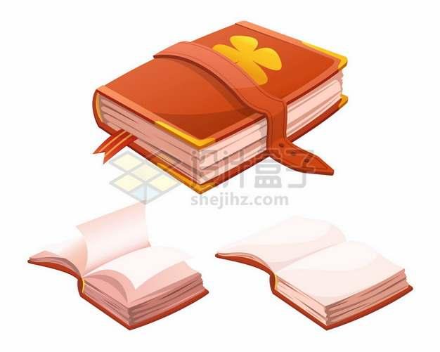 复古卡通书本和打开的空白魔法书398666png矢量图片素材