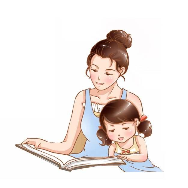 卡通妈妈和女儿一起看书读书母亲节插画898403png图片素材