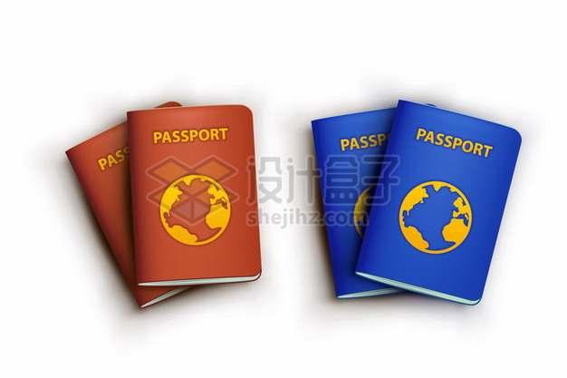 红色和蓝色卡通护照588358png图片素材