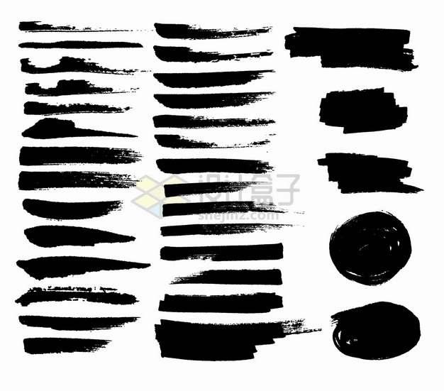 各种黑色毛笔涂鸦笔触图案png图片素材