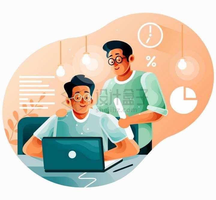 两个正在笔记本电脑跟前讨论问题的商务人士扁平插画png图片免抠矢量素材