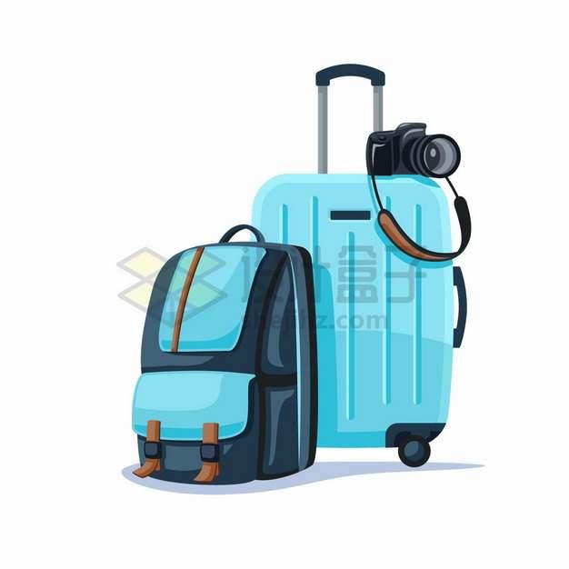蓝色双肩背包和旅行箱包和照相机旅游用品png图片素材