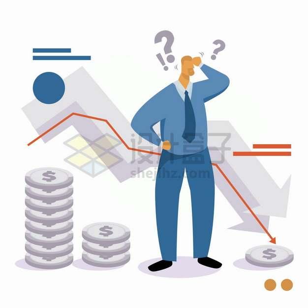不断下跌的箭头和减少的金币象征了破产经济危机金融危机png图片素材