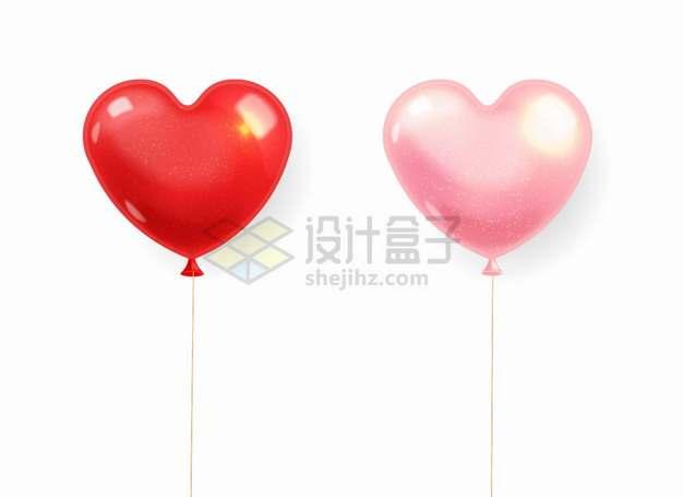 绑着绳子的红色粉色心形气球png图片素材