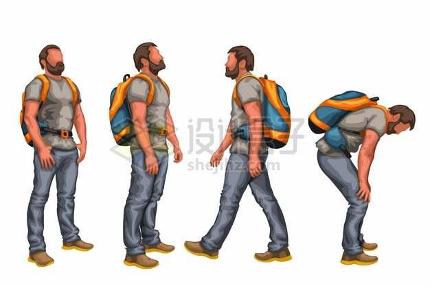 走路和弯腰休息的背包客徒步旅行者638635png矢量图片素材