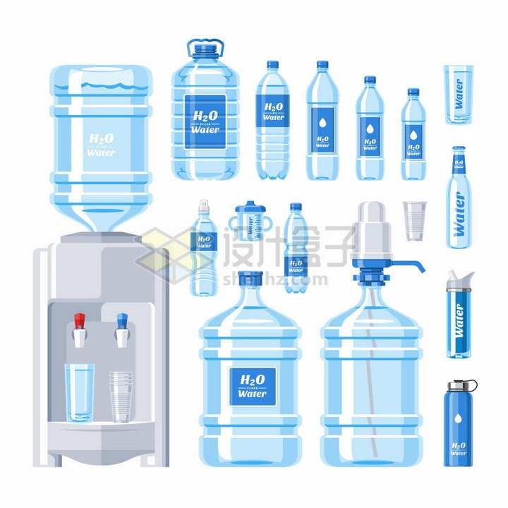饮水机和桶装纯净水各种矿泉水png图片免抠矢量素材