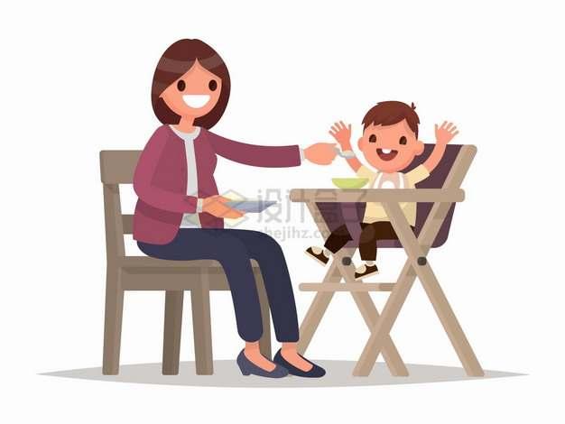 妈妈正在喂宝宝吃饭扁平插画png图片免抠矢量素材