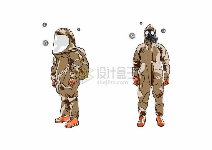 身穿防护服的医护人员新型冠状病毒手绘插画png图片免抠矢量素材