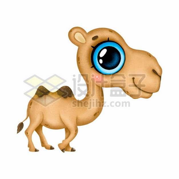 大眼睛的卡通双峰骆驼png图片素材
