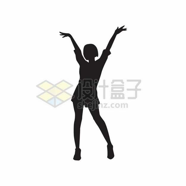 女团跳舞的女孩张开双臂摆pose剪影119790png图片素材