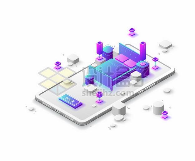 3D手机上的紫色卧室双人床布置846407png矢量图片素材 IT科技-第1张