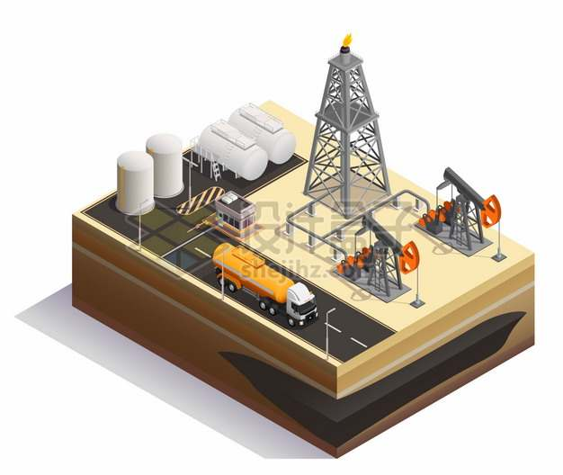 2.5D风格沙漠中的磕头机石油天然气开采png图片素材