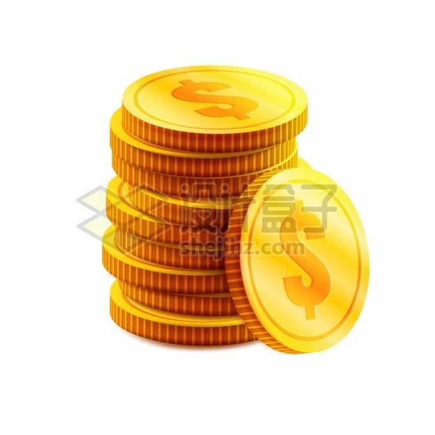 印有美元符号的逼真金币黄金货币png图片素材