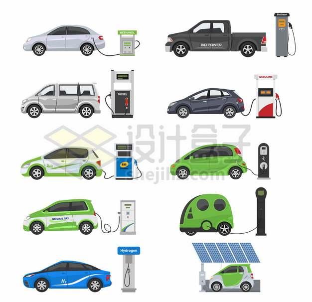 各种汽车加油站和充电桩387549png图片素材