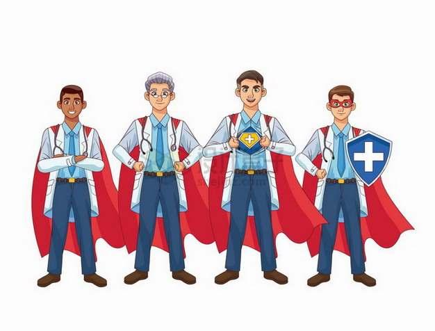 卡通医生和超人服象征了疫情下医生都是英雄png图片免抠矢量素材