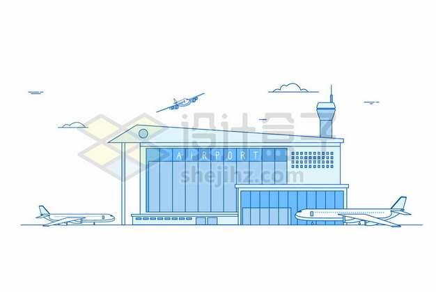 蓝色线条风格飞机场476324png图片素材