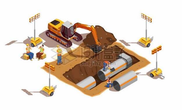 工人操作挖土机在埋设地下管道482553png矢量图片素材