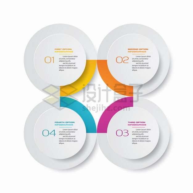 4个层叠圆圈组成的PPT信息图表聚合png图片素材