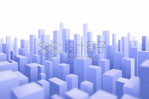 3D风格紫色城市建筑模型高楼大厦729160png矢量图片素材 建筑装修-第1张