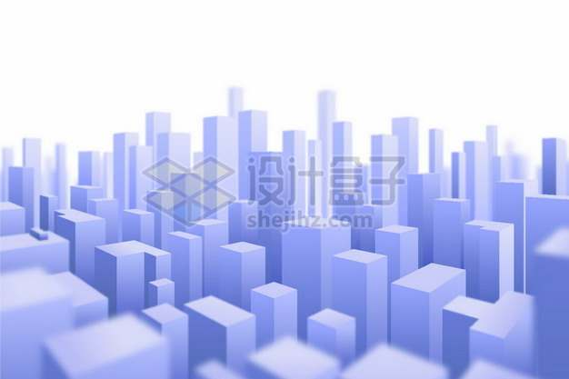 3D风格紫色城市建筑模型高楼大厦729160png矢量图片素材