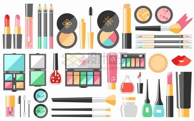 口红化妆笔眼影盒粉底等扁平化化妆品png图片素材
