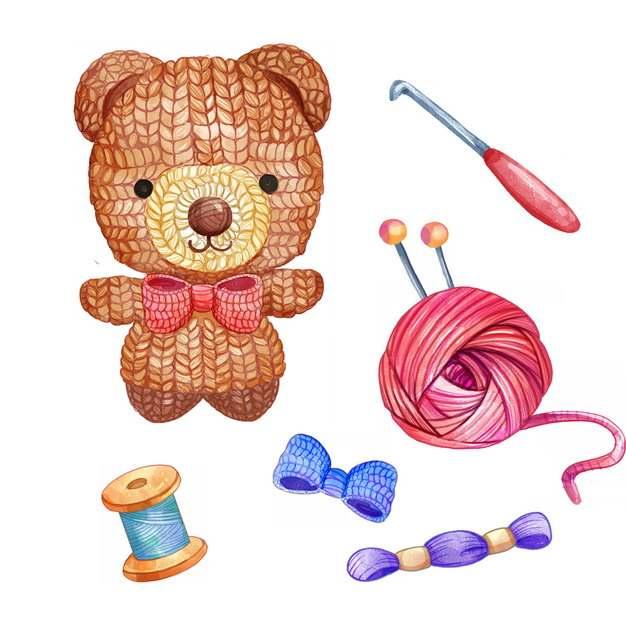 毛线球针织玩具熊缝衣针水彩插画366447png图片素材