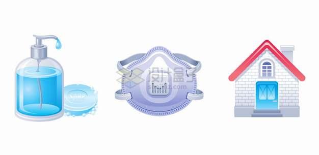 蓝色洗手液消毒液N95口罩和居家隔离新冠病毒疫情png图片素材