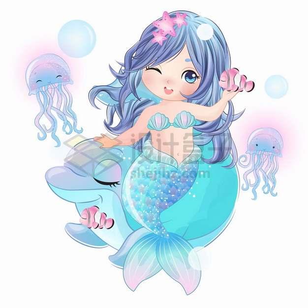 可爱卡通美人鱼和小丑鱼水母跳舞手绘插画png图片素材