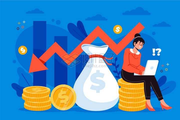 商务女士看电脑上红色箭头下降经济危机金融危机png图片免抠矢量素材