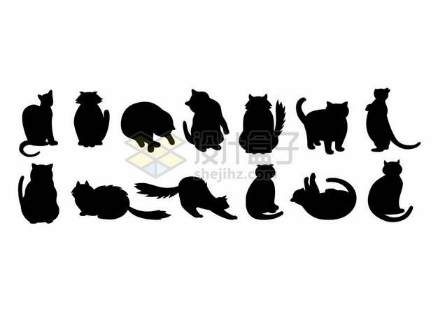 各种慵懒的猫咪剪影391481png图片素材