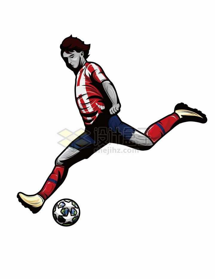 漫画风格踢足球的运动员png图片免抠矢量素材