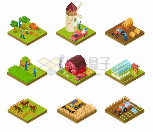 9款2.5D风格农场果园风车农田牧场温室等png图片素材