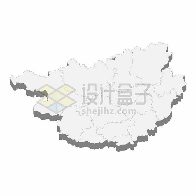 广西壮族自治区地图3D立体阴影行政划分地图198102png矢量图片素材 科学地理-第1张