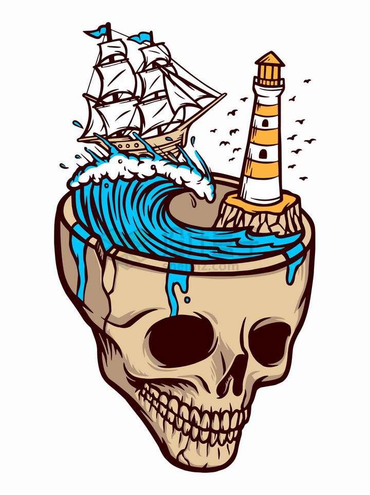 抽象骷髅头中的大海和帆船灯塔手绘插画png图片免抠矢量素材