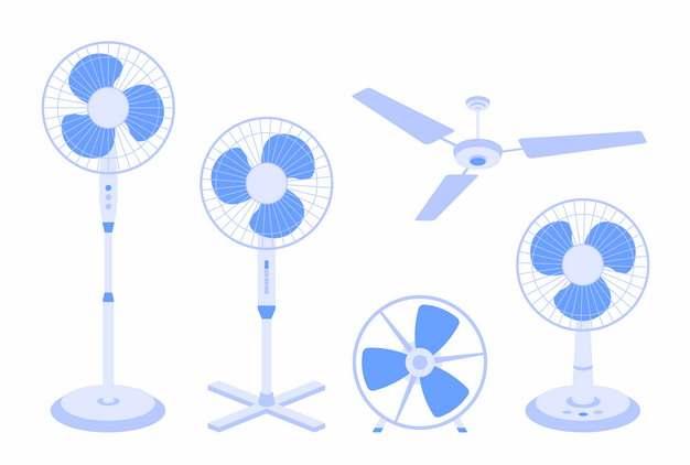 各种落地电扇台式电风扇和吊扇722272png图片素材