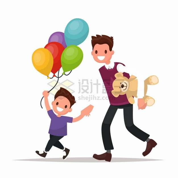 爸爸给儿子买了气球和玩具熊扁平插画png图片免抠矢量素材