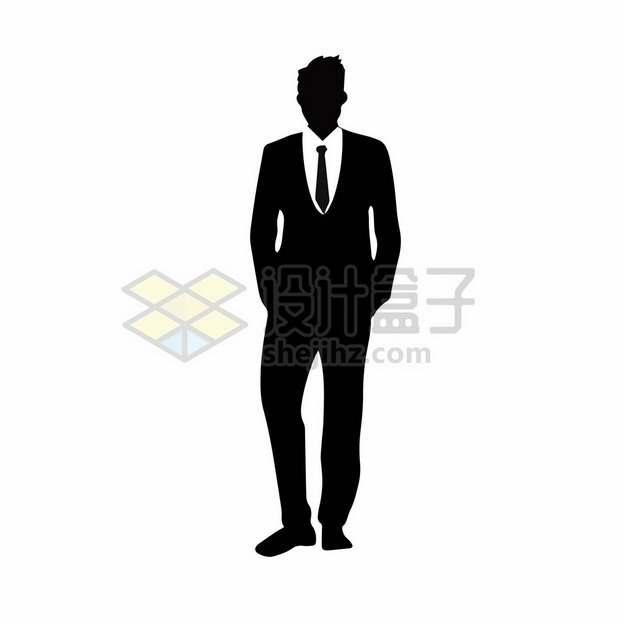 打领带穿西装的商务男士剪影495130png图片素材