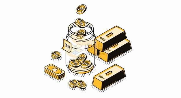 美元钞票金块金砖和玻璃瓶中的金币投资理财MBE风格插画png图片素材