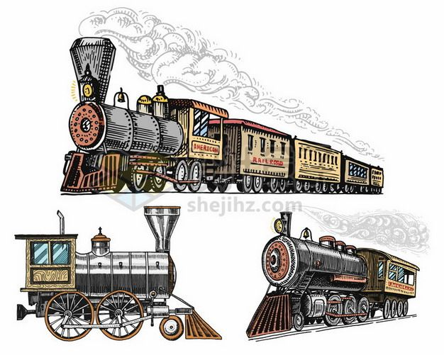 3款彩色手绘风格冒烟的蒸汽火车复古交通工具128489png图片素材