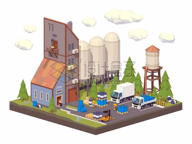 2.5D低多边形风格化工厂厂房和卡车png图片素材