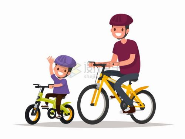 儿子和爸爸一起骑自行车春游扁平插画png图片免抠矢量素材