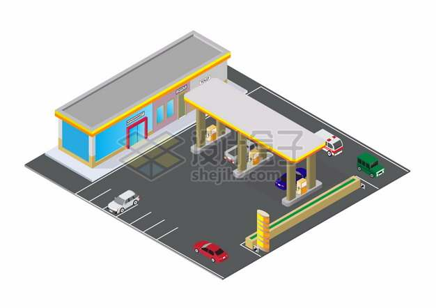 2.5D风格黄色的汽车加油站建筑png图片素材