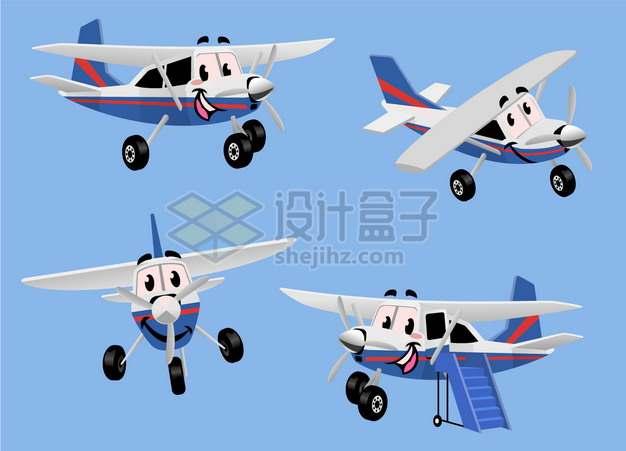 4款卡通螺旋桨飞机png图片素材
