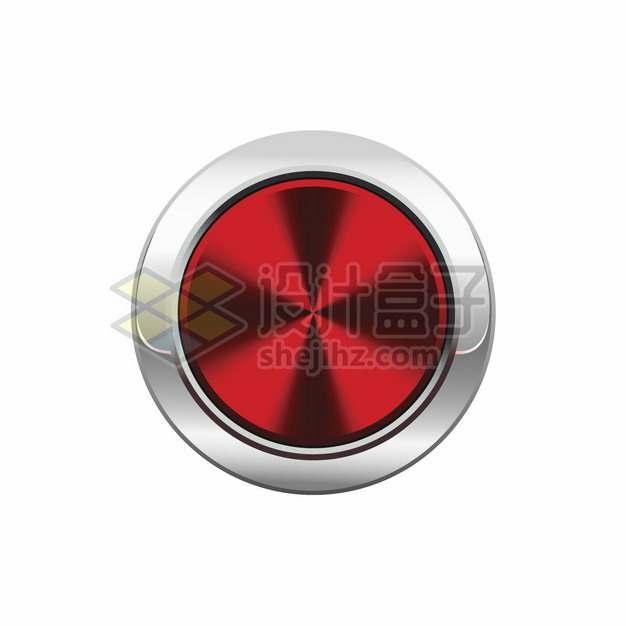 银色金属光泽边框红色圆形按钮png图片素材