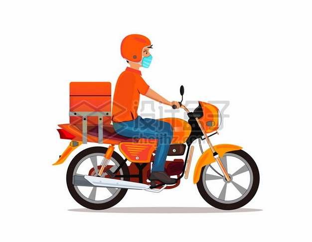 骑摩托车送货的快递外卖小哥146908png图片素材