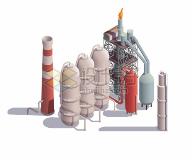 2.5D风格炼油厂的烟囱和储油罐石油工业png图片素材