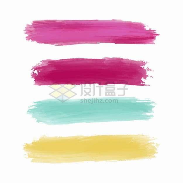 粉红色蓝色黄色水彩画彩色笔触涂鸦png图片素材