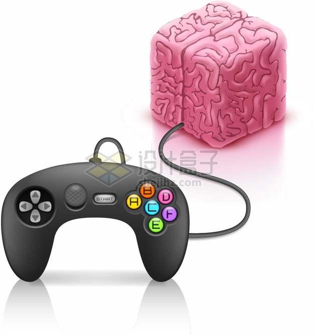 方形大脑和游戏控制手柄png图片素材