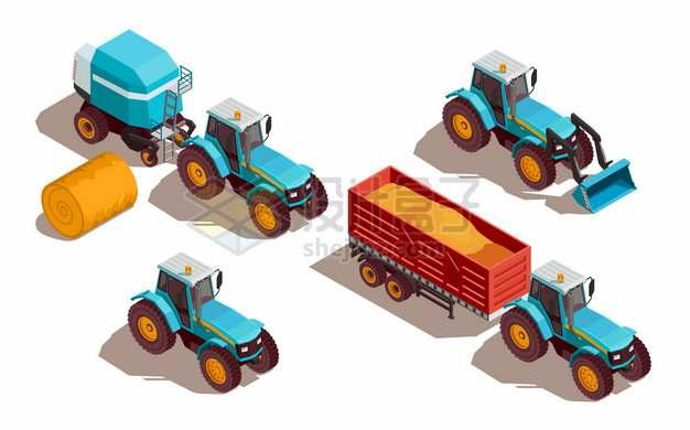 2.5D风格农用拖拉机铲车612059png图片素材